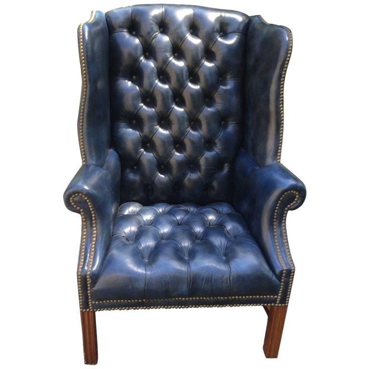 Fabulous Navy Blue Leather Tufted Wing Chair Leather