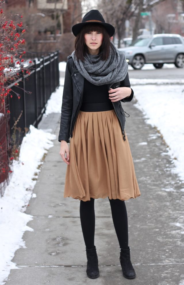 club monaco hat, h&m skirt, zara leather jacket, top shop boots, vince tank, guess by marciano scarf