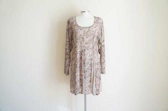 Vintage Tan Long Sleeve Floral Dress by ValleyDollsVintage on Etsy