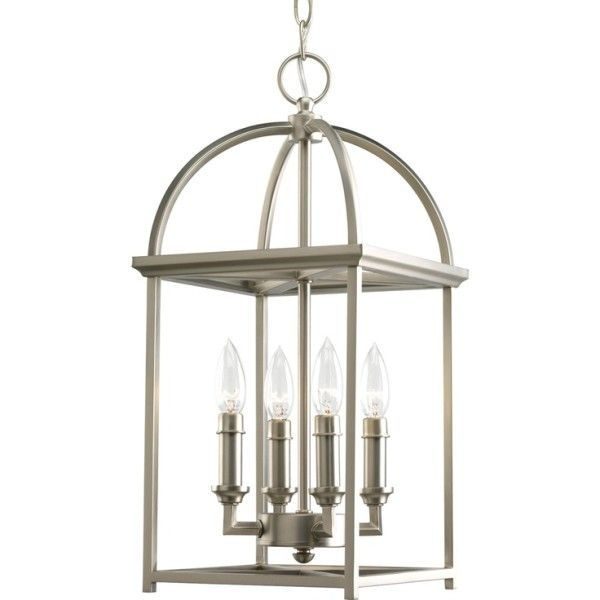 Pendant Lights for Entryway Using Candle Shaped Led Bulbs Inside Metal Lantern Frames on Satin Nickel Plated Finish Below Ceiling Lighting Fixtures also Entryway Candle Stand