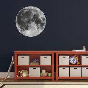 Full Moon Wall Sticker. This space themed wall decal features a high resolution photograph, and is contour cut ready for application. Perfect for a child's bedroom or for the study of an astronomy enthusiast.