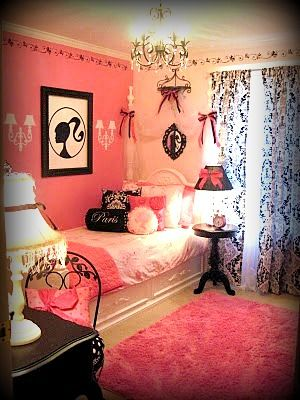 "'Parisian Vintage Barbie Girls Room' Collection - Photo 1 ""Inspired by my daughters love of Barbie and her dream of visiting Paris. We used a color palette of black, white, bright and soft pinks. The goal was to create a glamorous, yet functional space, fit for a five year old princess to grow with."" - PrimPatriot #girlsroom #kidsrooms #kidsdecor"