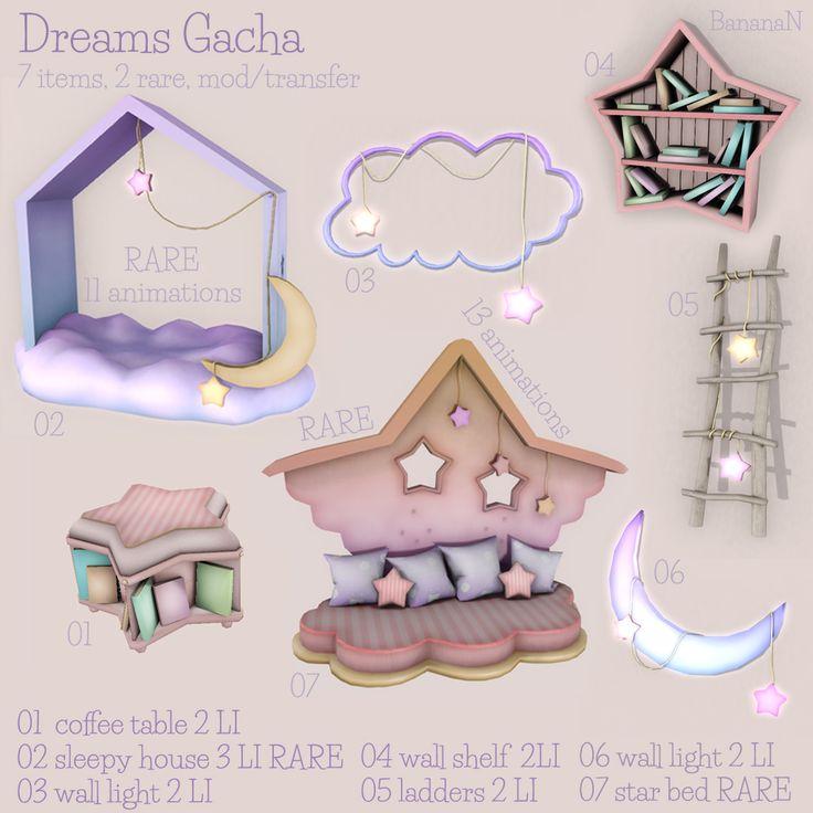 Dreams gacha available in Second Life BananaN inworld store.