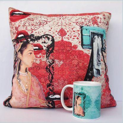 Lips Cushion & Coffee Mug #Launchpad #PerInchDesignStudio