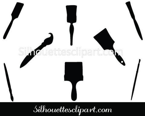 Paintbrush Silhouette Vector Graphics