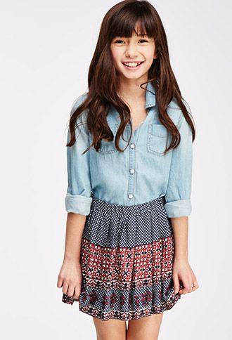 Pleated Mixed-Print Skirt (Kids) | FOREVER21 girls | #f21kids