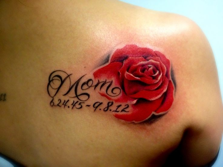 Rose tattoo dedicated to my mom red is the color for heart for Rose heart tattoo