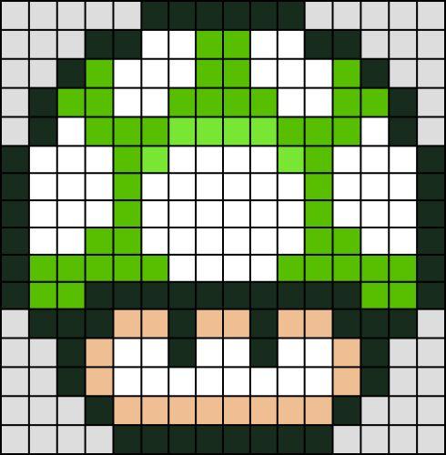 Champignon Vert Super Mario en Perle HAMA (Mini)