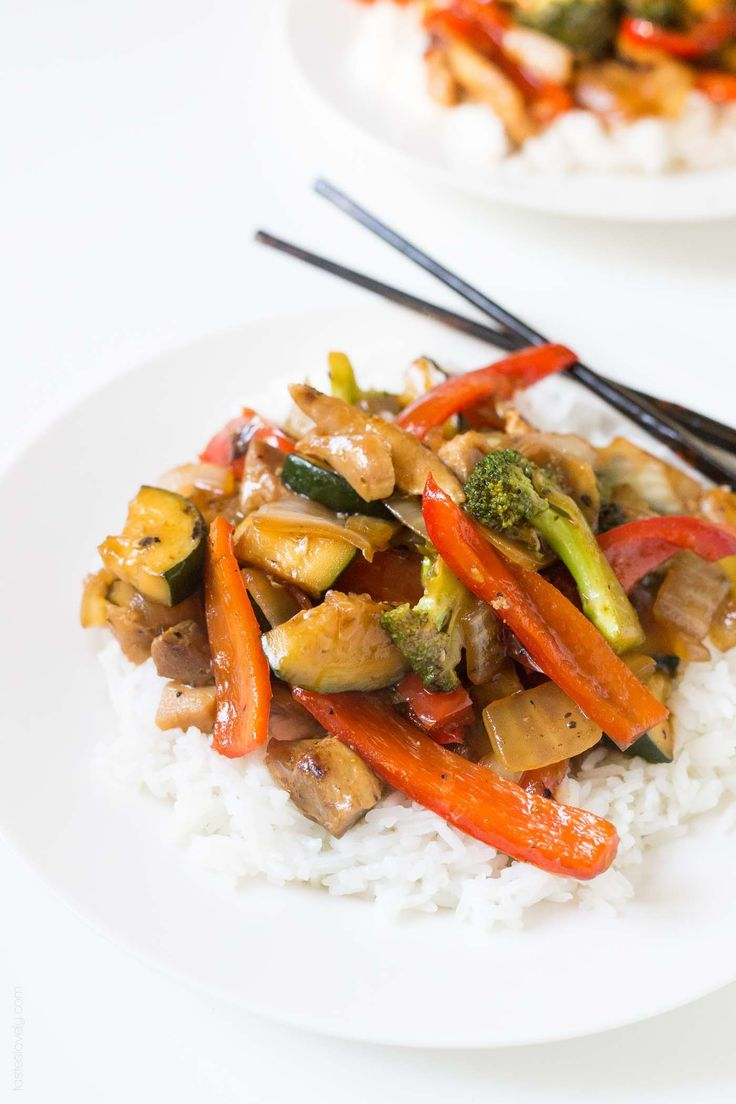 Broccoli And Bell Pepper Chicken Stir Fry, Made With The -7679