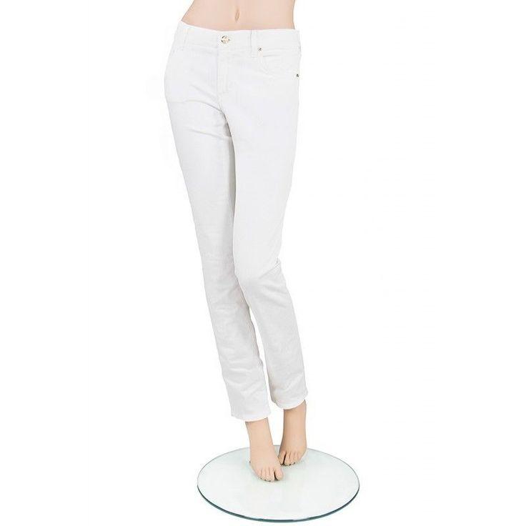 VERSACE JEANS Pantaloni slim fit bianchi con borchie dorate Tg 29-31