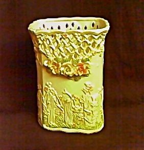 """Floral Vase - Standing 7"""" tall x 5"""" x 4""""...open filigree work around top...beautifully hand-crafted Originally priced at $25.00...NOW 55% OFF  Order # 1528...$11.25"""