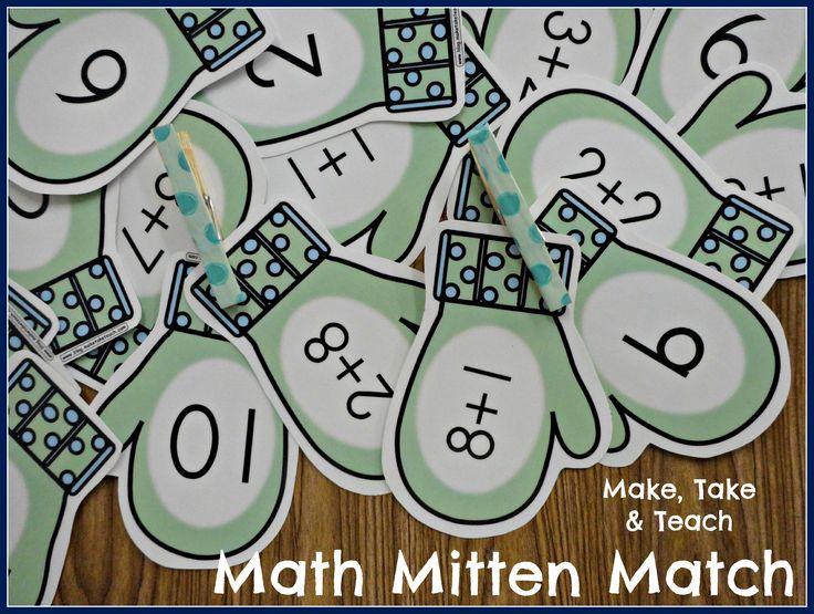 Fun little mitten match FREEBIE for your math centers.