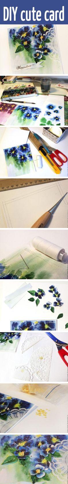 DIY cute watercolor card #scrapbooking