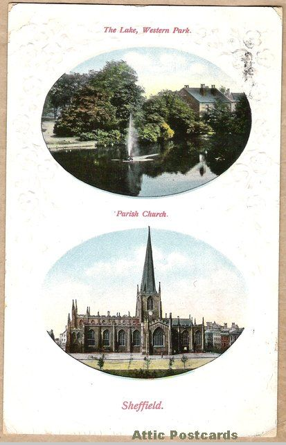 Vintage postcard showing the lake in Western Park and the Parish Church at Sheffield in Yorkshire, England. Rural Series.