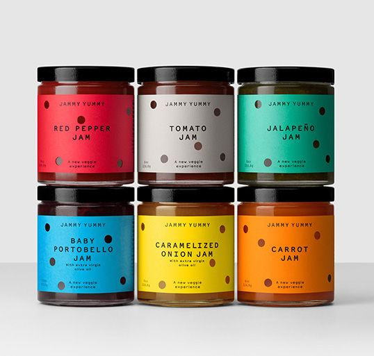 "Designed by Hey: ""A new company based in Miami. Their hand-made range of savoury vegetable jams​​ is fun food and snacks made for sharing. The labels are a set of random die-cut perforations where the holes suggest the constant nibbling that the food provokes."""