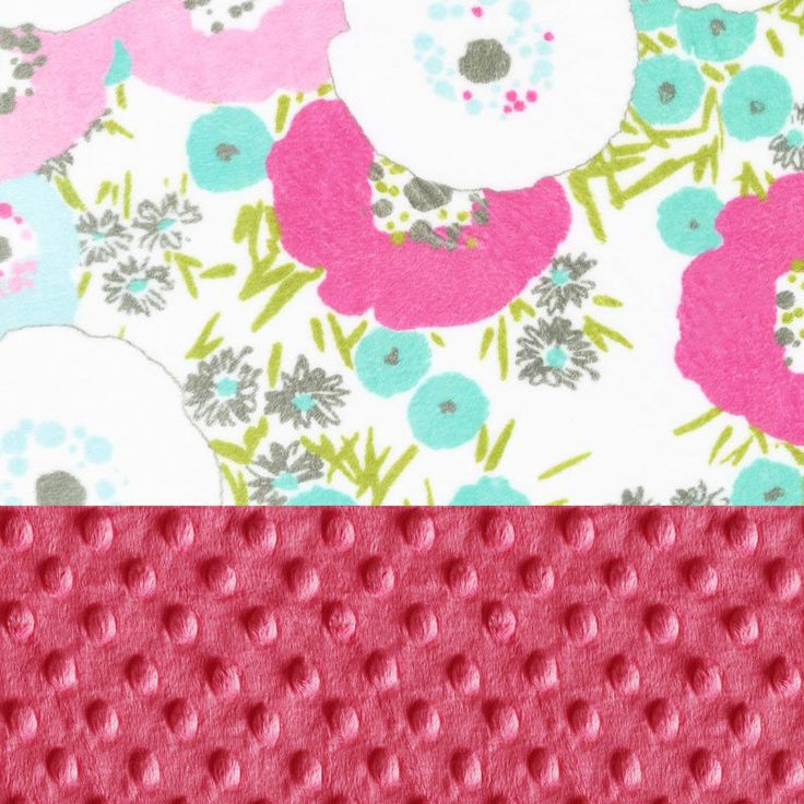 SALE Personalized Baby Blanket / Minky Baby Blanket Girl Aqua Pink Flower Blanket  Stroller Blanket - Nursery Decor by Sewingdreamsnotions on Etsy