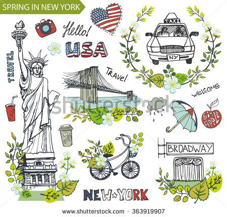 Spring in New York,USA,floral decor.Vector Doodles.American travel symbols in hand drawn sketch,sign of landmark,lettering.Vintage Illustration,background. Brookline bridge,Statue Of Liberty,taxi.
