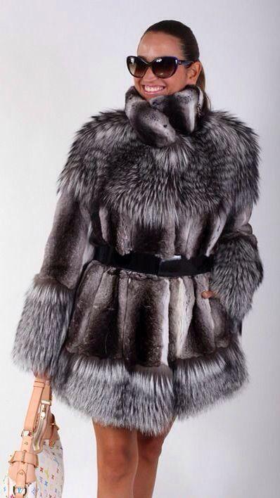 Chinchilla & Silver Fox Fur Jacket #silverfox #furonline #furfashion