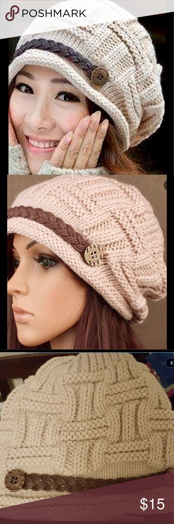Beanie acrylic hat warm trendy women's fashion Brand new hat in sealed packaging. Material:Acrylic.   Strap Type:Flexfit Color: Beige. Smoke/animal free Accessories Hats