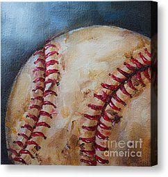 baseball canvas acrylic | Red Sox Painting Canvas Prints - Old Baseball Canvas Print by Kristine ...