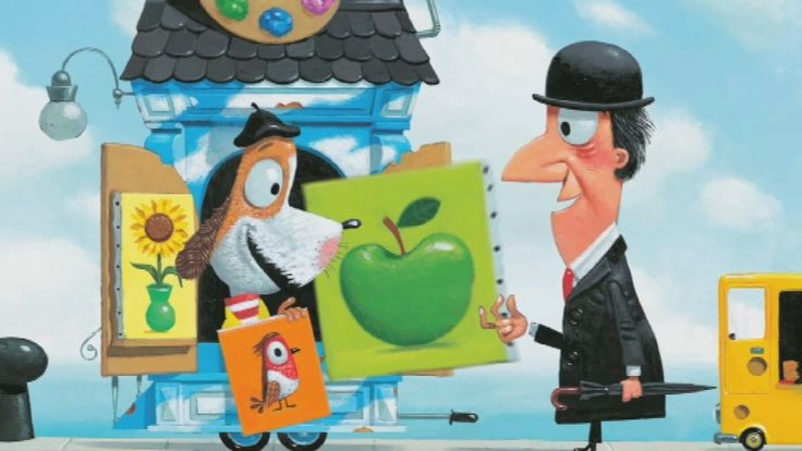 """Prentenboek over schilderen en het besef dat het hebben van veel spullen niet gelukkig maakt. Digitaal prentenboek: 'Meneer René"""""""