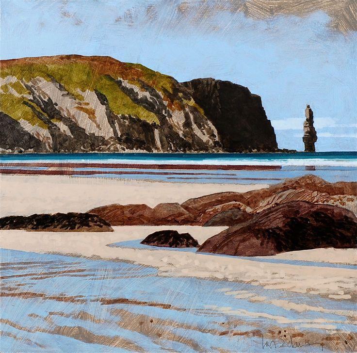 """Ian Sidaway - """"Sandwood Bay, Scotland"""", 2014 - Oil on board"""