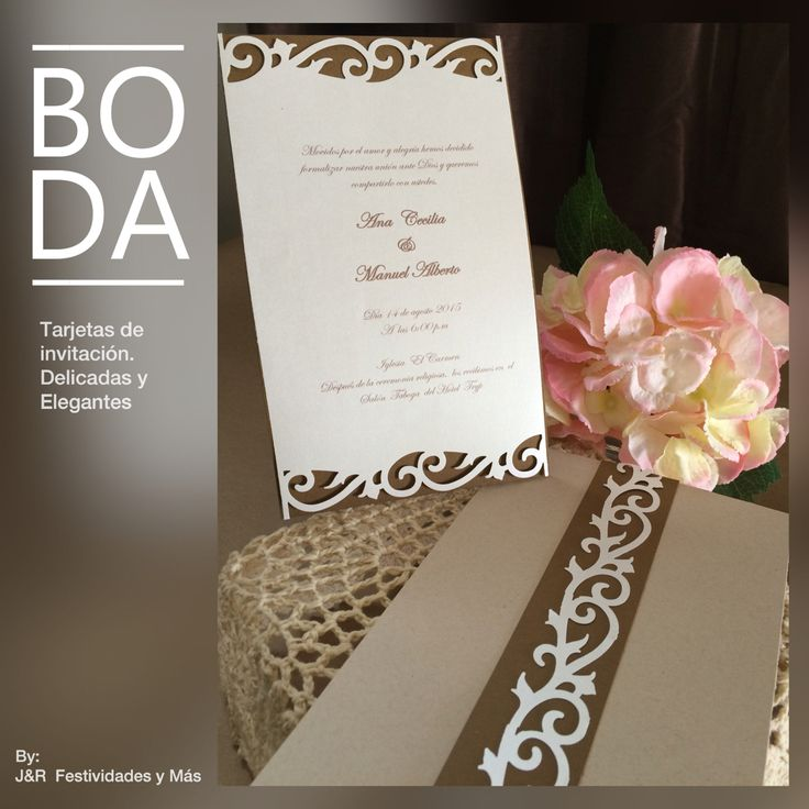Tarjetas de invitación troqueladas. Delicadas y elegantes. @jyrfestividadesymas
