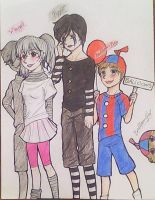 Mangle,Puppet,Balloon Boy e Balloon Girl by ThaisMarino-Sensei