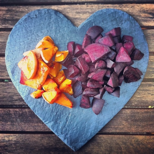 Photo by myhappyfooddiary - Dry roasted beets and butternut squash - a perfect little supply of clean and lean snacks to keep in the fridge
