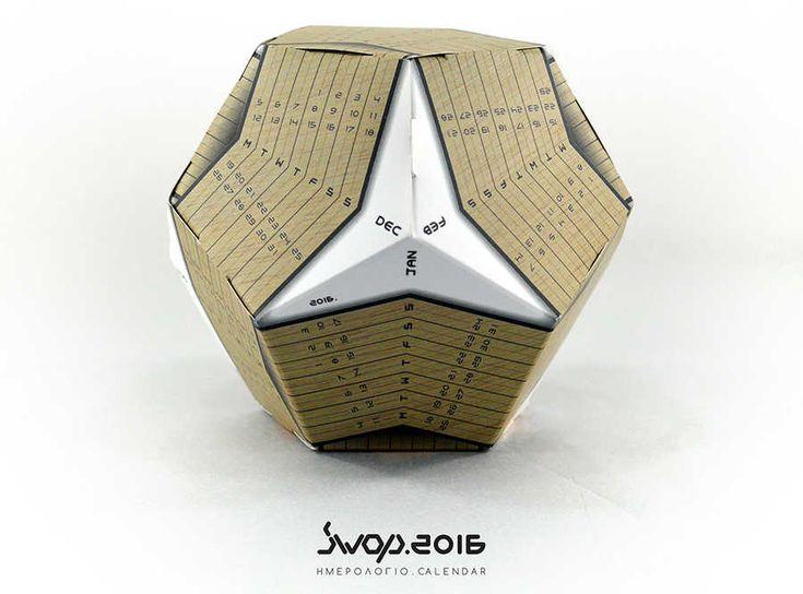 Diseño de un calendario para el año 2016 en un dodecaedro
