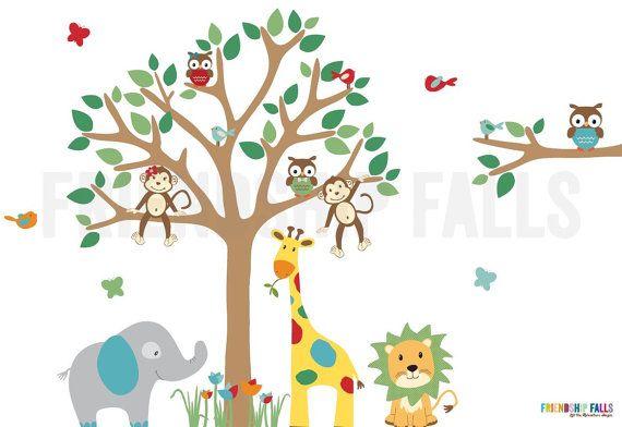 Dschungel Kinderzimmer Wand Aufkleber, Giraffe, Kinderzimmer Wand