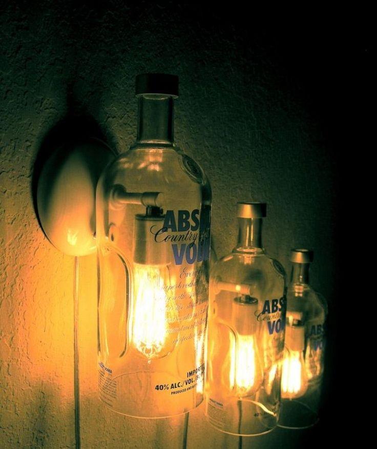 wandleuchten aus transparenten glasflaschen selber machen lamp pinterest wandleuchten. Black Bedroom Furniture Sets. Home Design Ideas