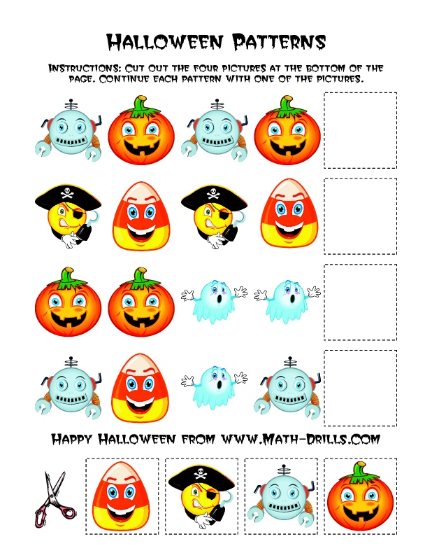 Halloween Math Worksheet Picture Patterns (B