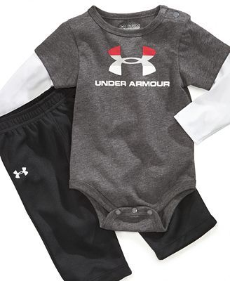 OMG! OMG. My love for Under Armour will now be extended to baby Jackson! Under Armour Baby Set, Baby Boys Bodysuit and Pants Set