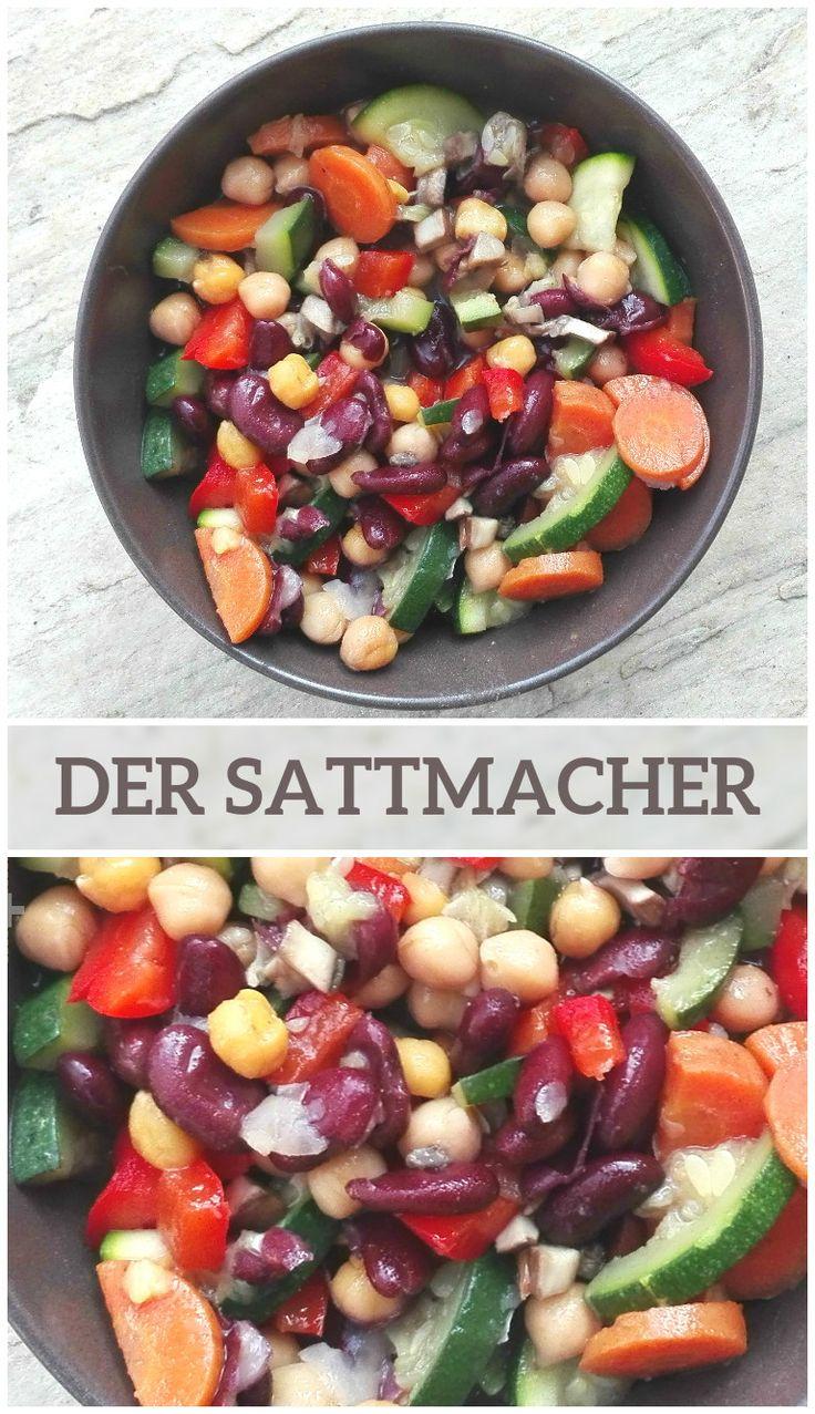 Kichererbsen/Kidneybohnen mit Gemüse. Geht schnell, macht satt, ist gesund und schmeckt.