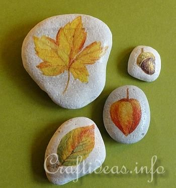 decoupaged paper napkins on to stones