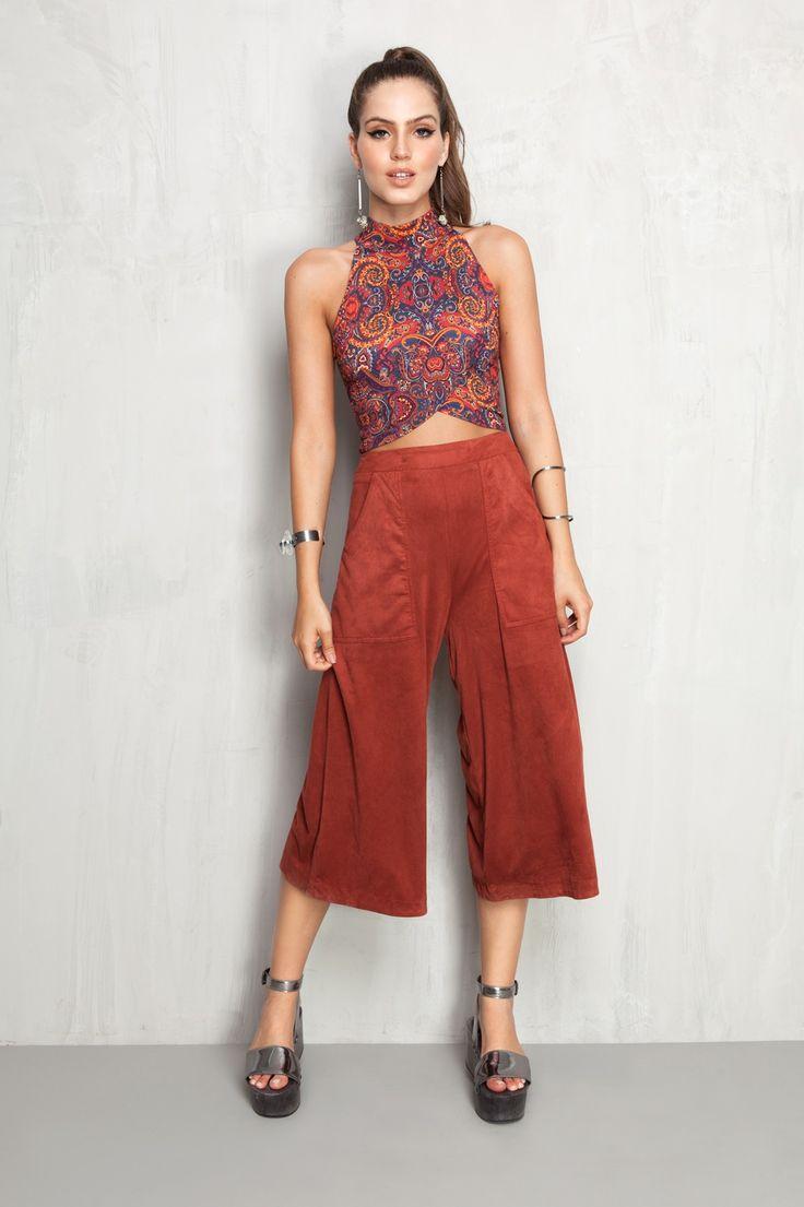 calça pantacourt suede bolso | Dress to Mais