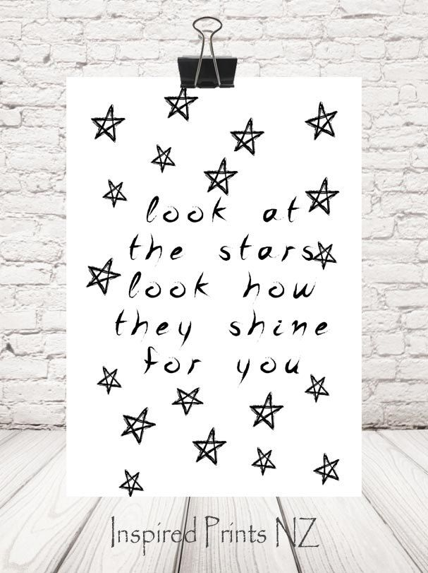 A4 Print Look at the Stars by InspiredPrintsNZ on Etsy