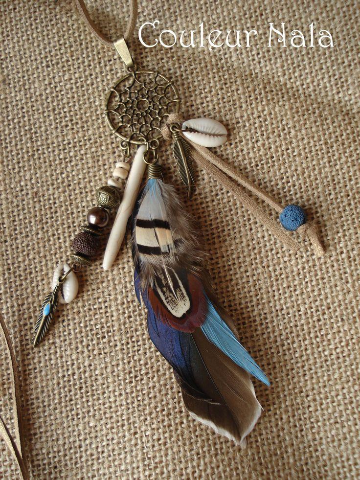 Collier ethnique attrape rêves, plumes de canard, faisan, perles roche volcanique, howlite, coquillages : Collier par couleur-nala