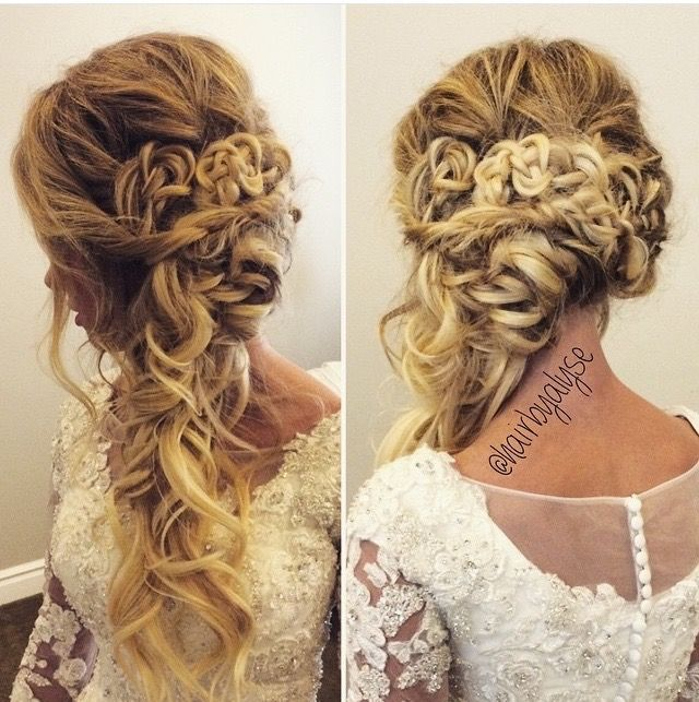 Bridal & Wedding Hair, Curled Over One Shoulder
