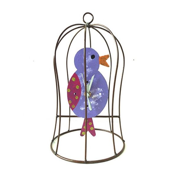 Oxidos Chicken in Cage Clock - Lilac