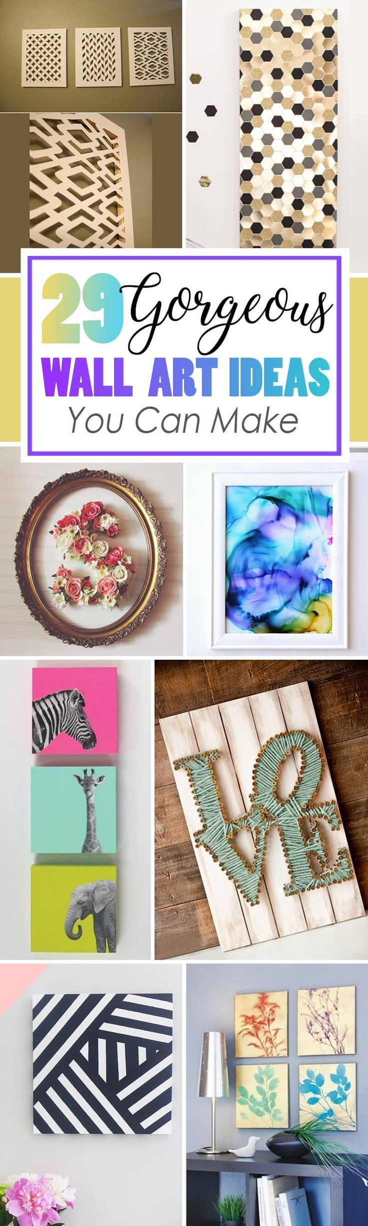 DIY wall art is one of the most fun and inexpensive ways to decorate your home. That's why we've compiled a list of 36 amazing DIY wall art ideas for you to try! This list has projects for all styles and skill levels, so you are sure to find one you can't wait to try. 36 Make-Your-Own Wall Art P...