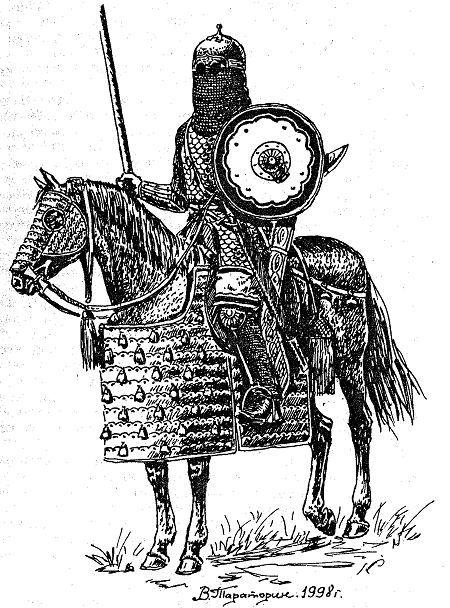 Рис. 38. Персидский тяжеловооруженный лучник. VI — VII вв.