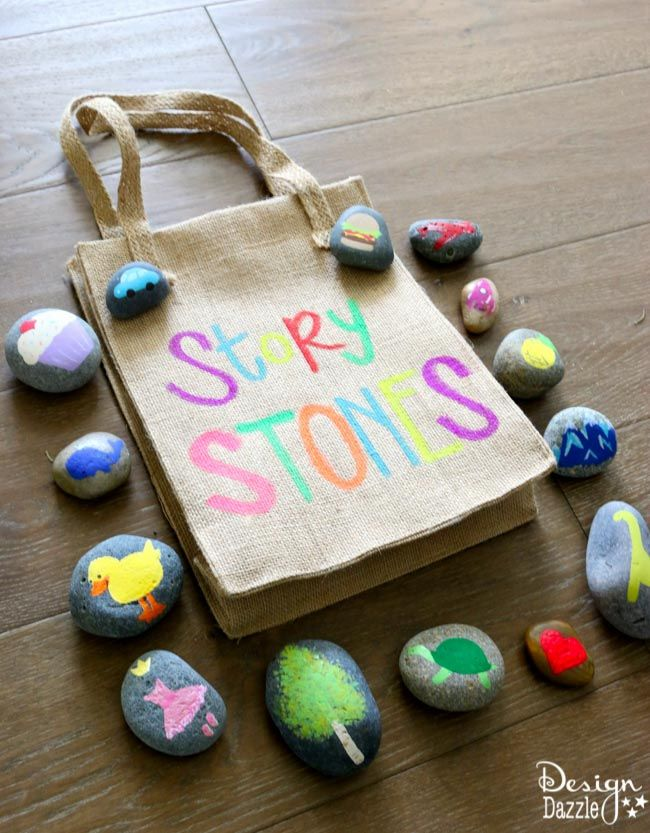 Story stones are perfect for writing prompts, imaginative adventures, story-telling around the campfire, on long car rides. Fun & creative for everyone. MichaelsMakers Design Dazzle