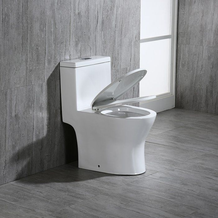 1 28 Gpf Round One Piece Toilet Seat Included Modern Bathroom