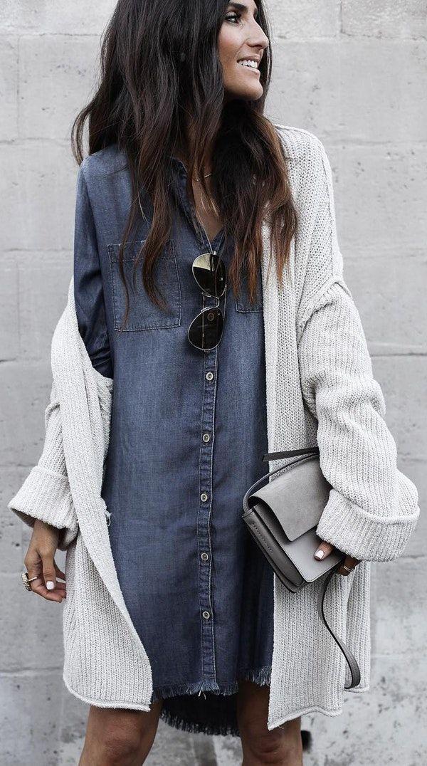 cd1debff99  winter  fashion   Dark Denim Shirt Dress   Light Maxi Cardigan   Grey  Shoulder Bag