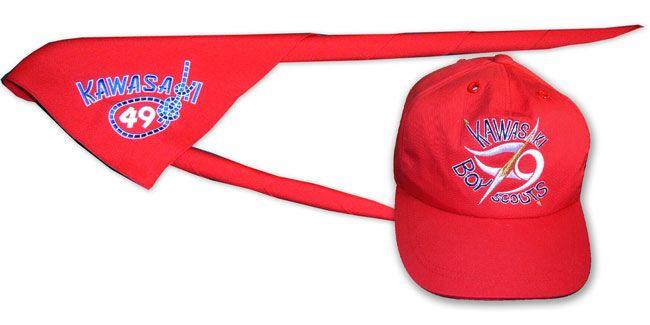 ボーイスカウト川崎第49団様が製作したオリジナル、ネッカチーフ、キャップ、帽子の紹介