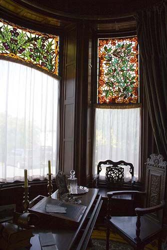 Bay Window With Leaded Stained Glass Windows In A