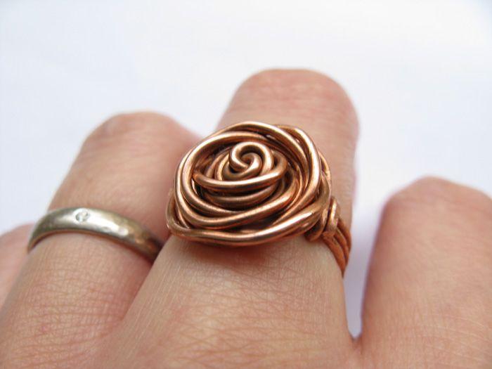 DIY wire rose ring