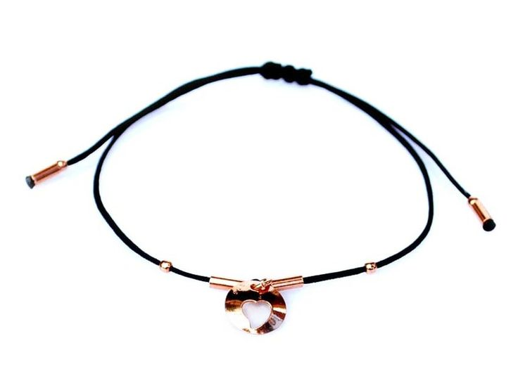 BRANSOLETKA  czarna z  serduszkiem różówe złoto w euforio na DaWanda.com